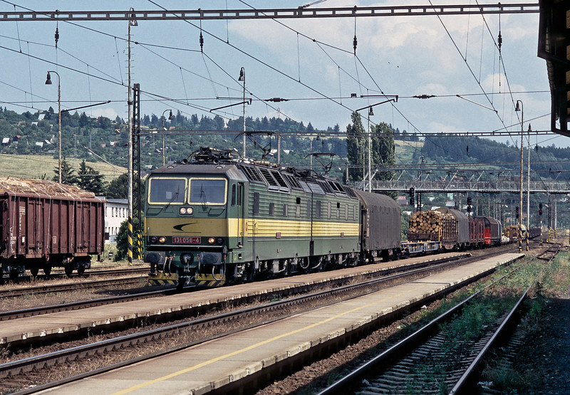 ZS Cargo 131.056 and 131.055 head west through Liptovsky Mikulas on 27 June 2008 with a mixed freight including new built wagons for operators in Holland and Germany