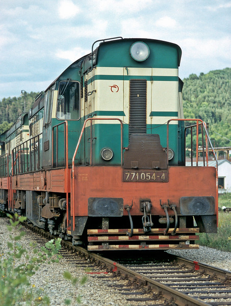 Leading a line-up of locos near the fuel point at Zilina is ZS Cargo 771.054 on 28 June 2008