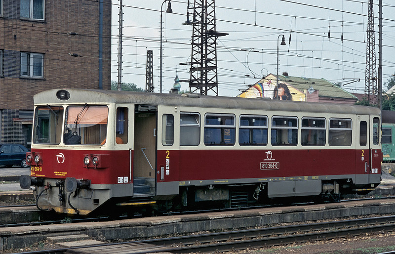 Although repainted ZS railcar 810.364 is in basically original condition at Zilina on 27 June 2008