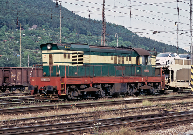 The large car plant on the edge of Zilina has given extra trip freights for the large diesels to work - ZS Cargo 771.093 passes the station on its way to the main marshalling yard on 26 June 2008