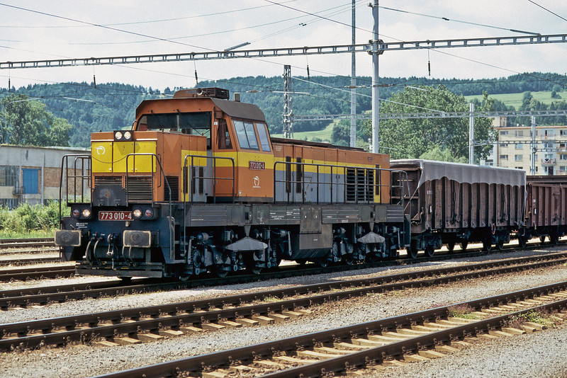 Rebuilt from a Class 771 large diesel ZS Cargo 773.010 runs into Banska Bystrica with a short freight on 28 June 2008