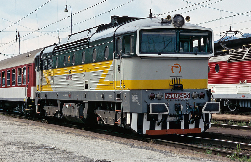 ZSSK 754.054 waits patiently to work a service to Zvolen at Zilina on 26 June 2008