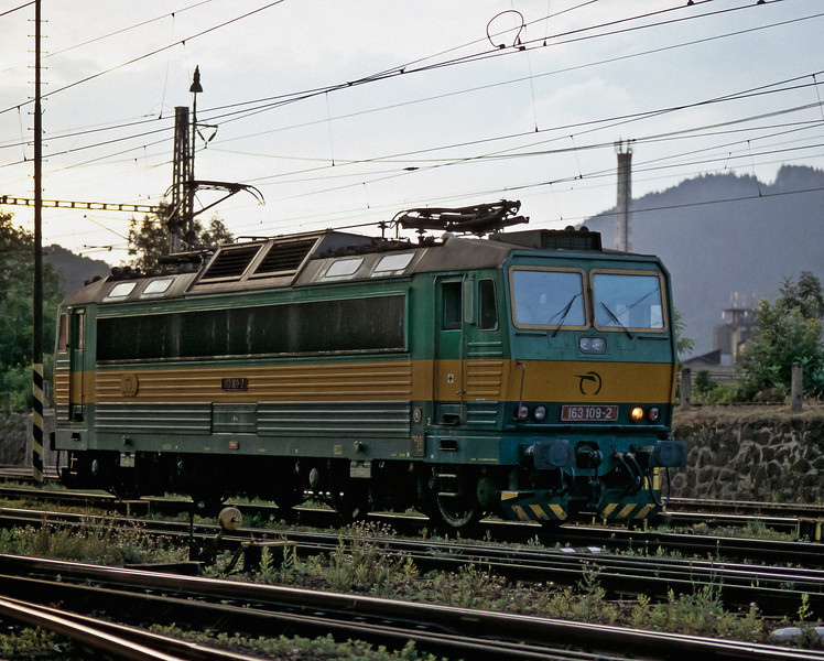 The last light of the evening catches ZS 163.109 as it runs around a train at Zilina on 27 June 2008
