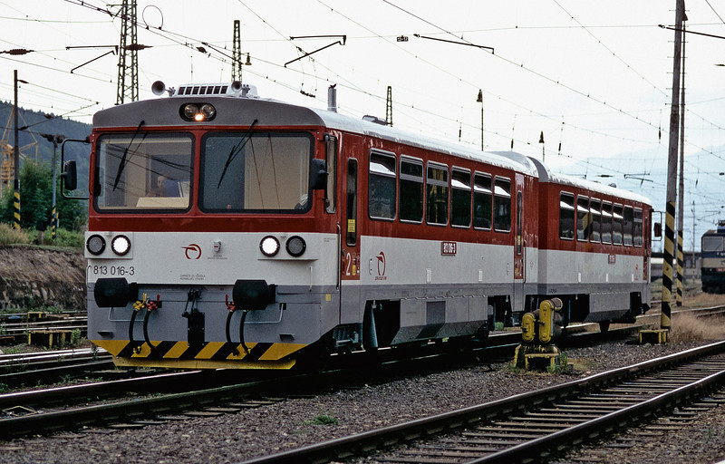 Refurbished diesel railcar 813.016 heads off to the depot at Zilina on 26 June 2008