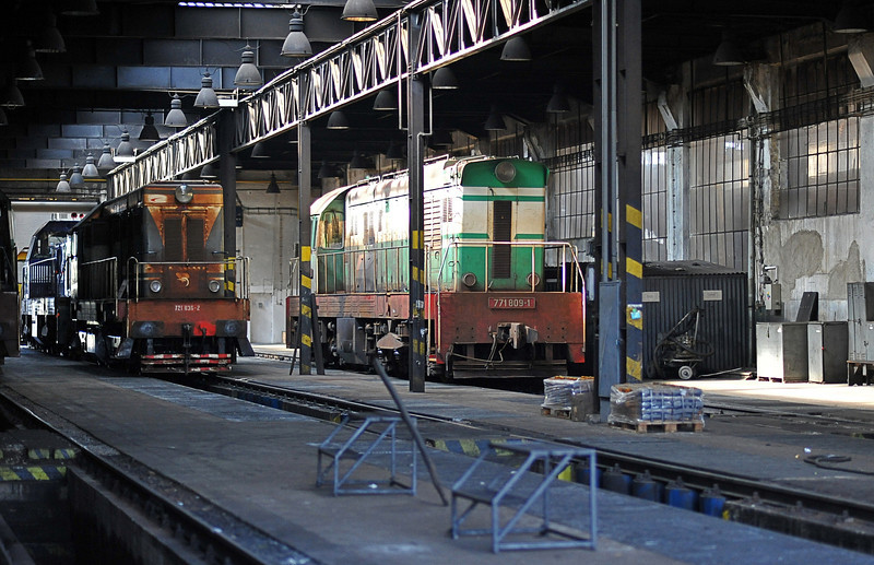 ZS 721-036 and 771-809 sit inside the depot at Cierna nad Tisou on 26 September 2011