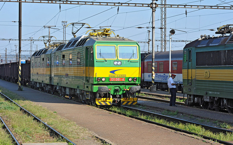 Double electric ZS Cargo 131-061/062 runs through the station at Kosice on 27 September 2011