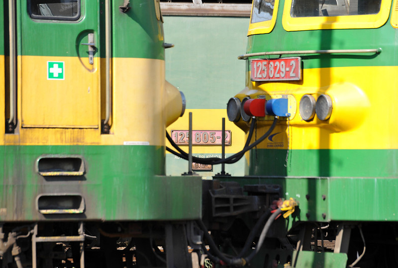 Sitting in the line of stored locos ZS Cargo 125-805 peeks between 125-827 and 125-829 at Haniska pri Kosiciach on 27 September 2011