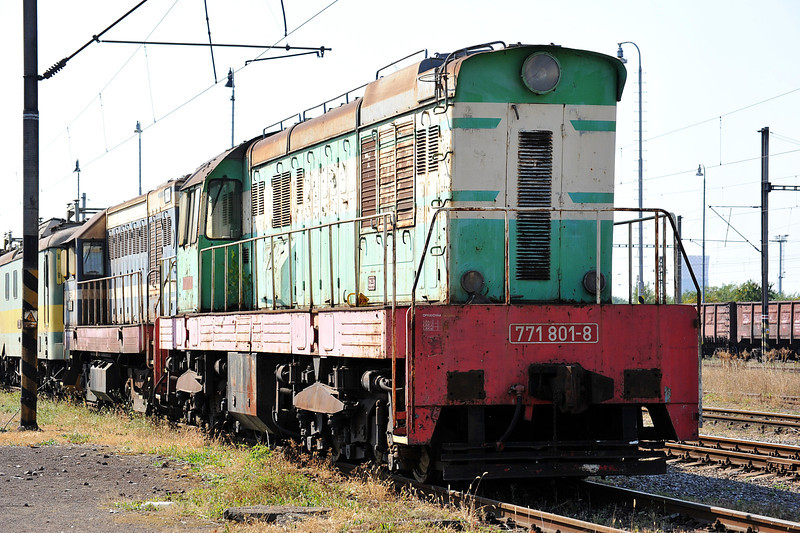 ZS Cargo 771-801 at the head of a line of stored broad gauge engines at Haniska pri Kosiciach on 27 September 2011