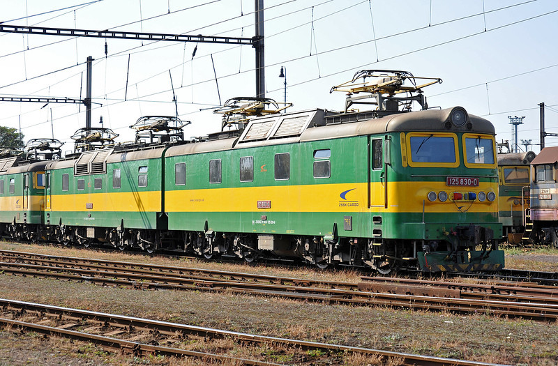 ZS Cargo 125-830/829 sits in the depot yard at Haniska pri Kosiciach on 27 September 2011