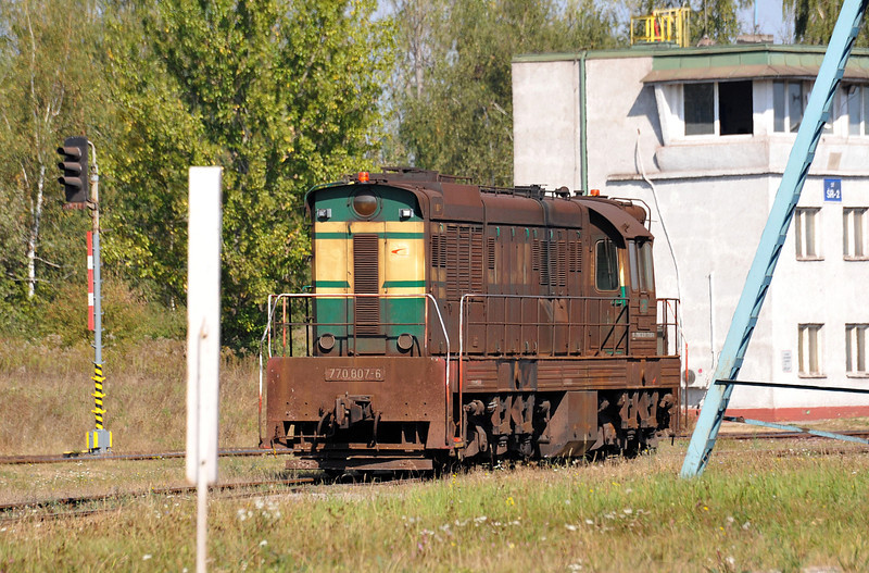 Tucked away near the transfer sheds where the iron ore pellets are discharged for the nearby steel works was broad gauge ZS Cargo 770-807 at the far end of the yard complexes at Haniska pri Kosiciach on 27 September 2011