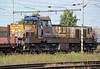 Out at the end of the yard ready to push a long cut of wagons back into the yard at Haniska pri Kosiciach on 27 September 2011 was US Steel 774-502