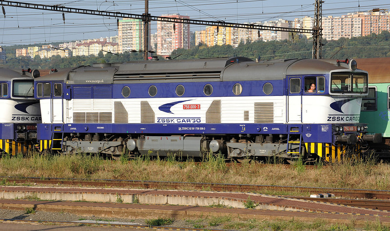 ZSSK Cargo 'goggle' rebuild 756-006 is in the yard opposite Kosice station on 27 September 2011