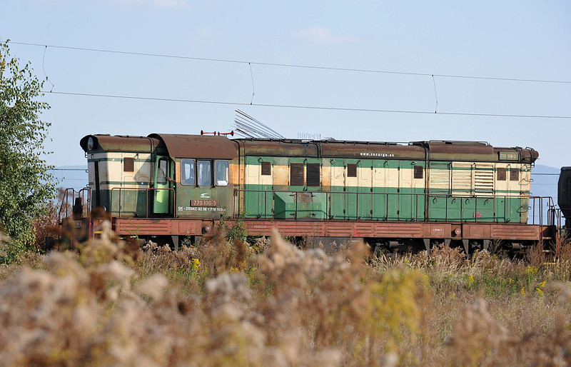 Running through the weeds at Haniska pri Kosiciach on 27 September 2011 was ZS Cargo 770-106 - the steelwork above the engine is from a large road building project which seems to be connecting the steel plant to the road network with a double carriageway road; large flyovers are being built across the railway at present