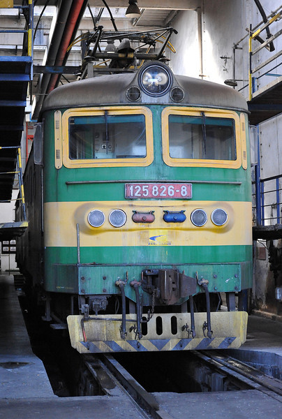 Skoda double electric 125-826/825 is in the maintenance bay at Haniska pri Kosiciach on 27 September 2011