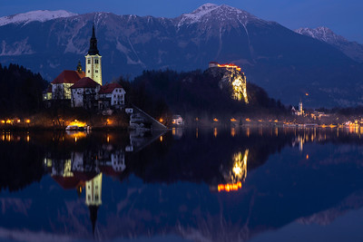 The church and castle at Bled are a famous scene any time of day or year.