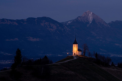 Churches dot the Slovenia countryside and it seems everyone is litup at night