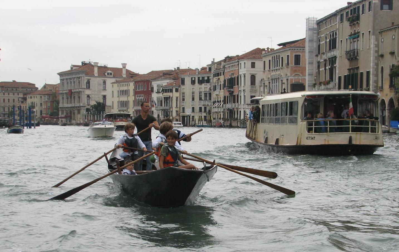 Future gondolieri on the Grand Canal