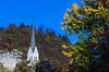 The St. Martin's Parish Church with fall foliage color in Bled, Slovenia, Europe.