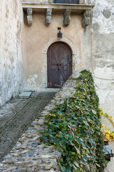 An old balcony and door at the hilltop castle at Bled, Slovenia.
