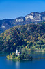 The island Church of the Assumption in the lake near Bled, Slovenia, Europe.
