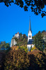 The St. Martin's Parish Church and Castle at Bled, Slovenia, Europe.