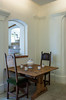 An interior historic table setting at the hilltop Castle at Bled, Slovenia.