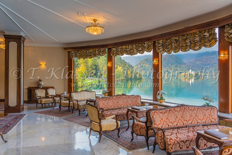 Interior of the Grand Hotel in Bled, Slovenia, Europe.