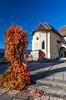 The hilltop Castle exterior facade at Bled, Slovenia.