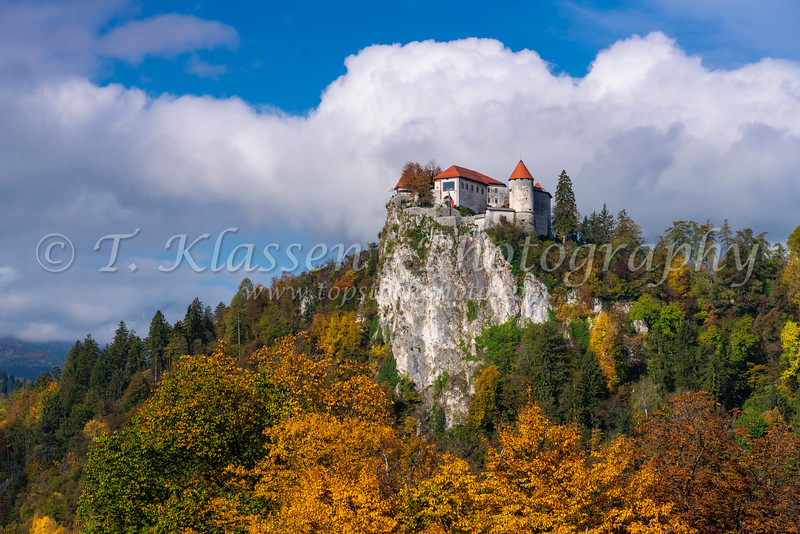 Bled Castle with fall foliage reflected in Lake Bled, Slovenia, Europe.