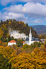 The St. Martina Parish Church with fall foliage color<br /> in Bled, Slovenia, Europe.
