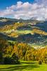 Fall foliage in the hills near Praprotno village, Slovenia, Europe.