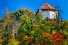 The Little Castle with fall foliage color in Kamnik, Slovenia, Europe.