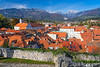 A view of the red roofs and skyline of Kamnik, Slovenia, Europe.