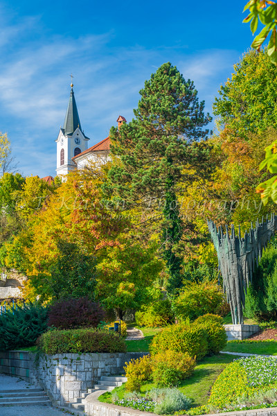 The Europe Park and Monument of  Revolution and Victims in Kamnik, Slovenia, Europe.