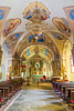 Interior of the St. Leonard Parish Church in Kropa, Slovenia, Europe.