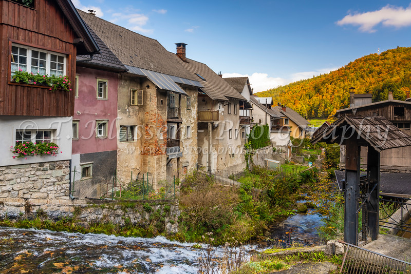 A small stream and waterfall in the village of Kropa, Slovenia, Europe.