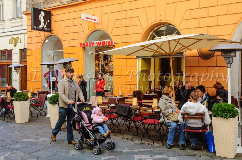 An outdoor restaurant in Ljubljana, Slovenia.