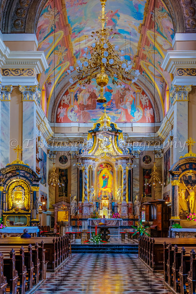 The Franciscan Church of the Annunciation interior on Preseren Square in Ljubljana, Slovenia, Europe.