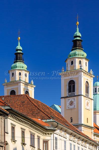 Church bell towers in Ljubljana, Slovenia.