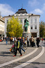 A pedestrian street in Ljubljana, Slovenia.
