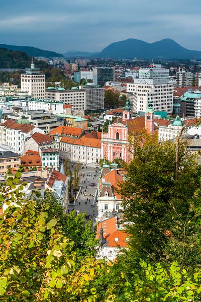 A view of the city from the Ljubljana Castle in Ljubljana, Slovenia, Europe.