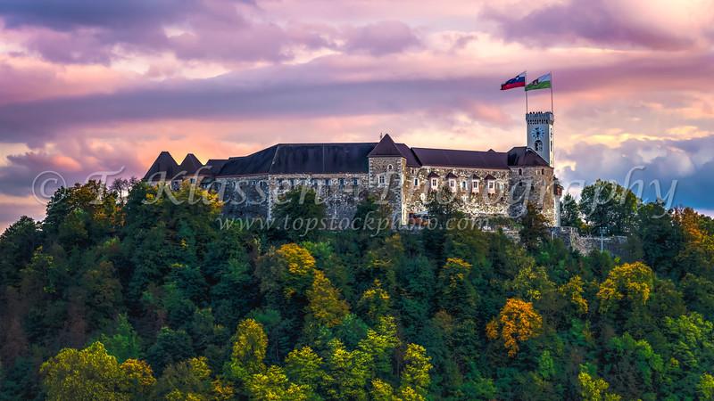 Ljubljana Castle a landmark on Castle Hill in the center of Ljuljana, Slovenia, Europe.