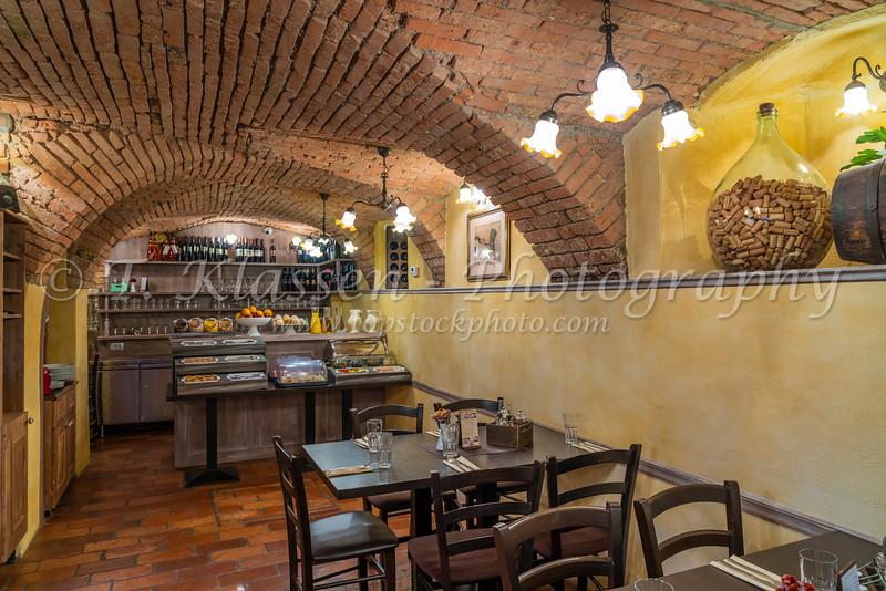Interior of the Hisa Pod Gradem restaurant in Ljubljana, Slovenia, Europe.