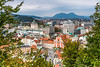A view of the city from the Ljubljana Castle in Ljubljana, Slovenia, Europe.