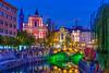 Downtown Ljubljana and its bridges over the Ljubljanica River, Ljubljana, Slovenia, Europe.