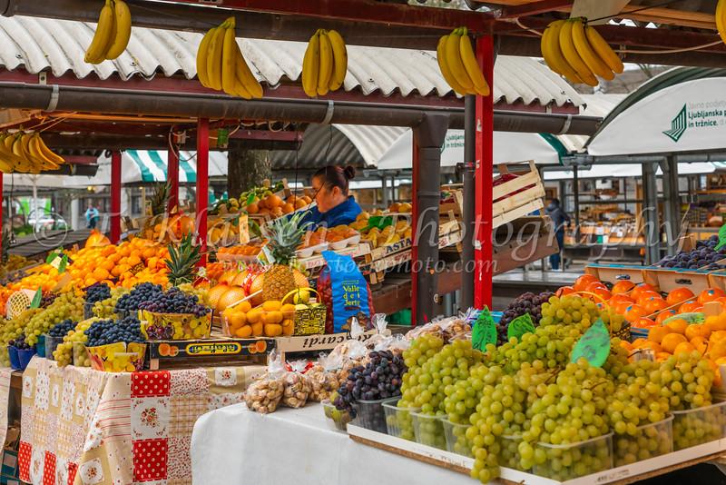 The outdoor market in Ljubljana, Slovenia, Europe.