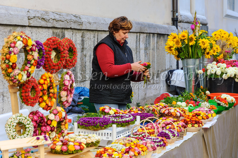An outdoor flower market in Ljubljana, Slovenia.