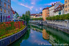 Downtown Ljubljana and its bridges over the Ljubljanica River, Ljubljana, Slovenia, Europe.