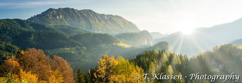 The logarska Dolina and the Kamnik Alps at sunrise, Slovenia, Europe.