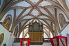 Interior architecture of the Church of St. Mary of the Snows in Solcava, Slovenia, Europe.